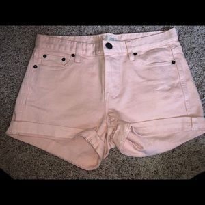 blush pink j. crew denim shorts